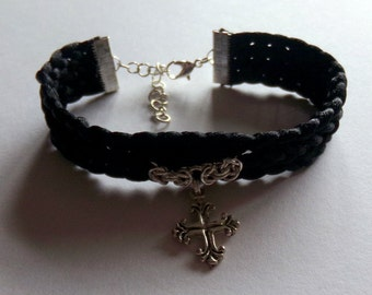 Gothic Cross Kumihimo Chainmaille Bracelet
