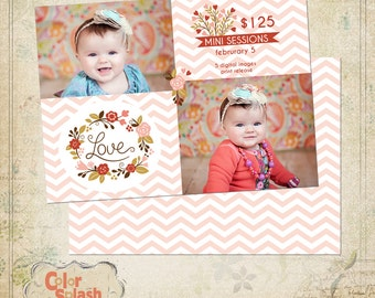 Digital Photoshop Valentine's Day Mini Session Template for photographers PSD Flat card