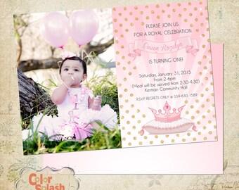 Digital Photoshop Princess Birthday 1st Birthday Invitation Template for photographers PSD Flat card