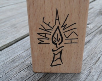 Make A Wish Stamp Mounted on Wooden Block - Anita's