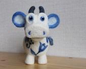 Needle felted cow, Gzhel cow, white blue