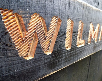 Carved Wilmington NC Sign - V-Carved, Painted and Distressed  Wall Decor  North Carolina Beach Gift