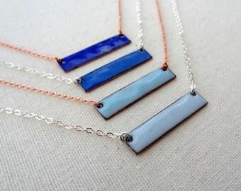 Blue Enamel Bar Necklace - Cobalt Blue, Sky Blue, Light Blue - on Copper or Sterling Silver Chain