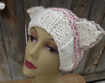 Slouchy Kitty Cat Hat - Beanie - Hand Knit - Womens - Wool and Acrylic Blend - Tan, Cream and Pink