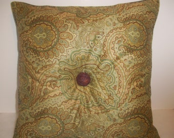 Handmade Pillow, Paisley Print, Antique Buttons, Home Decor,