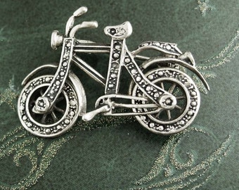 Sterling mechanical Bicycle brooch WHEELS MOVE silver bike vintage high quality gift men women bicyclist cyclist