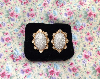 NETTIE ROSENSTEIN Rhinestone Earrings