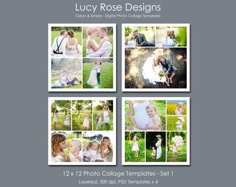 12 x 12 Photo Collage Templates - Set 1