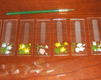 Hand Painted Eight Piece Floral Glass Name Tag Set REDUCED NOW