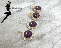 SALE Sterling Silver Amethyst Earrings | 14k Gold Amethyst Earrings | Swarovski Crystal Earrings | Bridal Jewelry | Wedding Jewelry | Purple