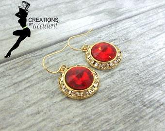 SALE 14k Gold Light Siam Earrings | Siam Swarovski Crystal Earrings | Bridal Jewelry | Wedding Jewelry | Red Swarovski Earrings