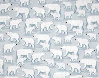 Winter Frost Polar Bear fabric - blue - Henry Glass - YARD
