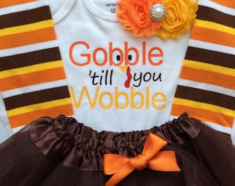 Baby girl Thanksgiving outfit-  Toddler Girl Fall Outfit - Gobble 'till you Wobble - Toddler girl photo outfit - thanksgiving legwarmers