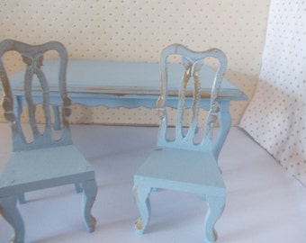dolls houseTwo wooden chairs painted miniature 1 12th  furniture