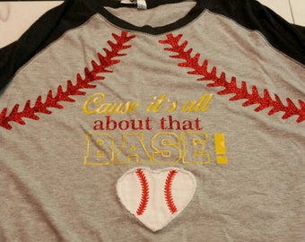 Baseball tee with vinyl and applique heart