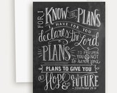 Jeremiah 29:11 - For I Know The Plans Card - Encouragement Card - Hand Lettering - Chalkboard Art
