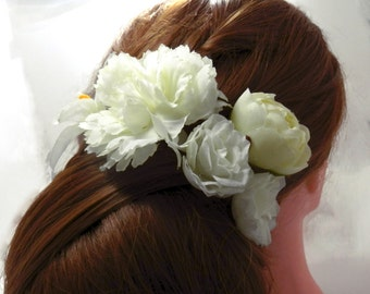 White/ Cream Floral Hair Pin Set/ Head Piece/ Silky Blossoms/ Bridal/ Wedding Hair Accessories/ Bridesmaid Hair Pin/ Wedding Flower Pins