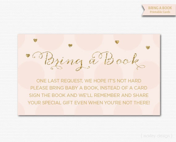 Pink Gold Baby Shower Games Bring A Book Cards Printable Instant