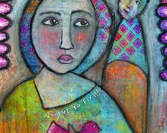 I want to fly.... an original mixed media painting,