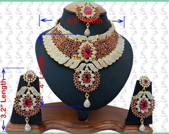 Indian Jewellery Set Handmade Gold Alloy and Rhinestones Cerise & Clear Stones
