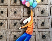The boy and the balloons ! Beautiful  shape on wood to hang on your ceiling! One of a kind painted by me!