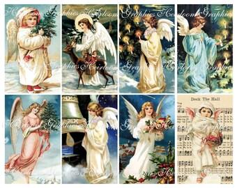 Christmas Download Vintage Christmas Angel Postcard Digital Download