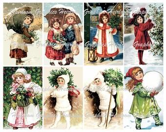 Christmas Children Download Vintage Children Christmas Postcard Digital Download