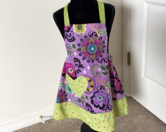 Sale ----Purple and green child apron