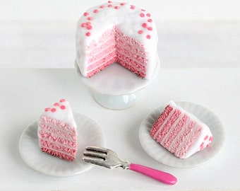 Miniature cake: pink ombre cake 1/12 scale - Miniature food - Dollhouse decoration