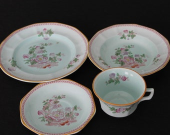 Vintage Adams Calyx Ware Micratex Pink & Green Tea Set