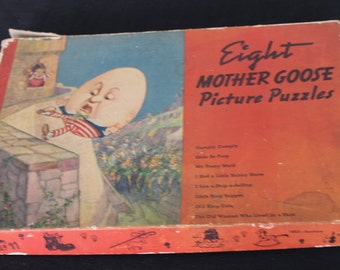 Eight Vintage Mother Goose Nursery Rhyme Puzzles Humpty Dumpty