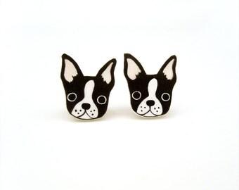 Boston Terrier Shrink Plastic Stud Earrings