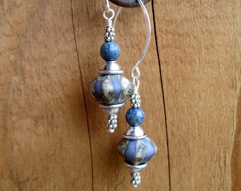 Denim Stripe Etched Lampwork and Blue Coral, Drop Earrings