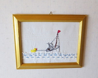 Nursery Decor Boat Ride Textile Art Embroidered Wall Decor