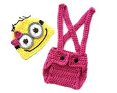 Girl Minion Set Despicable Me inspired Baby Outfit Hat and Diaper Cover Set Baby -Photography Prop  0-3 mo 3-6 mo 6-9 mo 9-12 mo 12-24 mo