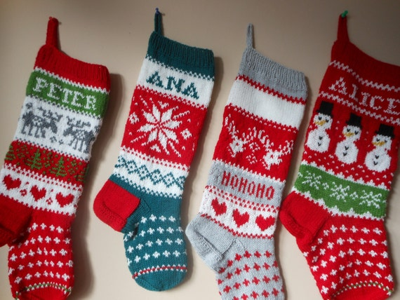 Personalized Christmas Stocking Hand Knitted