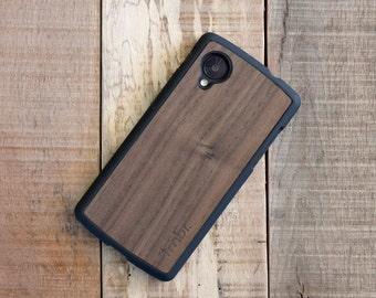 Walnut Wood Google Nexus 5 Case, Real Wooden Nexus 5 Case - FFNW5