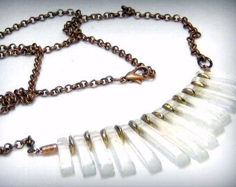 Crystal Quartz Graduated Fan Necklace Bohemian Jewelry
