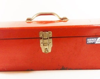 Vintage Red Metal Toolbox