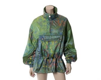 Vintage 80s Kaelin Iridescent Ski Jacket 1980s Abstract Holographic Mod New Wave Skiing Snowboard Shell Parka Outfit / size 12