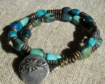 Double Wrap Turqouise and Stone Beads Bracelet