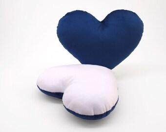 White and Dark Blue Team Spirit Hug Heart Shaped Pillow 12x14 inches