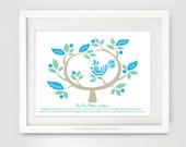 Five Pillars of Islam Tree (Green), Islamic Art Print, Modern Islamic Wall Art
