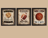 Famous Sports Quotes - Choose Any 3 - photo prints - Poster Wall Art Beige Black Vintage Soccer Baseball Football Basketball Boys Room Decor