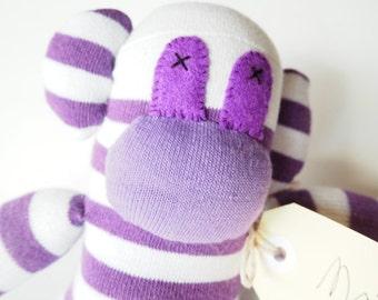 Sock monkey, sock animal, soft plush toy monkey. Maisie Monkey.