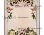Shabby Chic Collage Sheet, Vintage Collage, Invitation Announcement, Vintage Scrapbook Digital Paper Supplies. No. 615