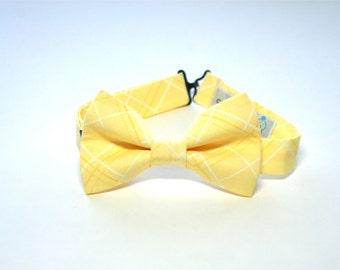 Bow Tie - Light Yellow Plaid Bowtie
