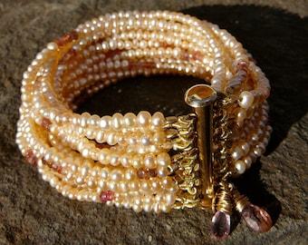 Freshwater Pearl Bracelet, Pearl Bracelet, Pearl Jewelry, Freshwater Pearl, Tourmaline Bracelet, Tourmaline Jewelry, Padparadscha Sapphire