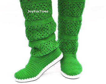 Crochet Boots for the Street Made to Order One Color Granny Square Choose Your Perfect Color
