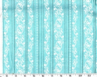 1 Yard, White Filigree on Blue Stitched Striped